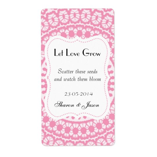 Wedding Favours Seed Packet Labels Let Love Grow