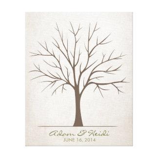 Wedding Fingerprint Tree – Rustic Canvas Print
