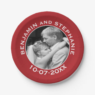 Wedding First Christmas Photo Custom Name and Year 7 Inch Paper Plate
