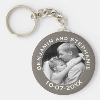 Wedding First Christmas Photo Custom Name and Year Key Ring