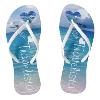 Wedding | Flip Flops | Bride Name |Blue Ocean Thongs
