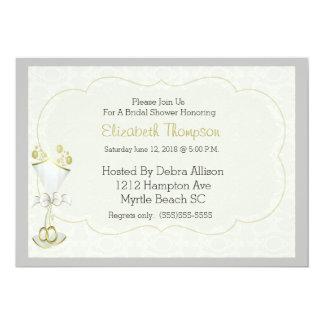 Wedding Glass Bubbly Damask Bridal Shower Invite