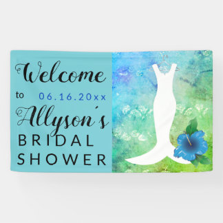 Wedding Gown Beach Themed Bridal Shower Banner