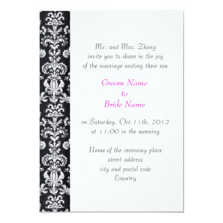 wedding, Groom's parents invitation black damask