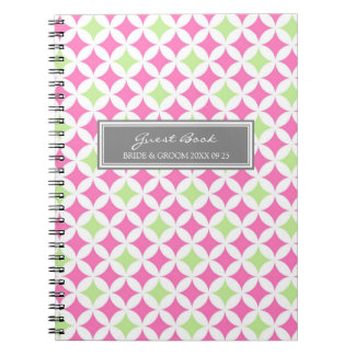 Wedding Guest Book Pink Lime Gray Notebook
