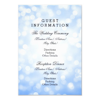 Wedding Guest Information Blue Glitter Lights Card