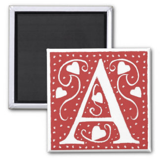 Wedding Hearts Letter A Square Magnet