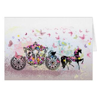 Wedding Horse & Carriage Flowers & Butterflies Greeting Card