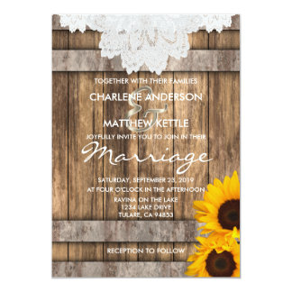 Wedding in a Rustic Wood and Lace Invitation