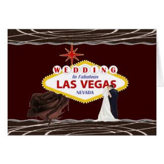 WEDDING In Las Vegas Chocolate Rose, Bride & Groom Card