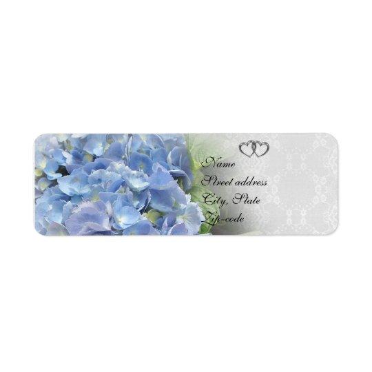 Wedding invitation address Labels Blue hydrangeas