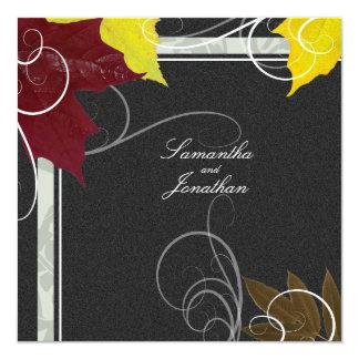 Wedding Invitation Autumn Red & Yellow Leafy Swirl
