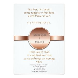 Wedding Invitation - Bronze disc & ribbon