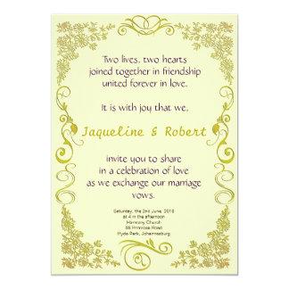 Wedding Invitation - Floral Swirl in pale green
