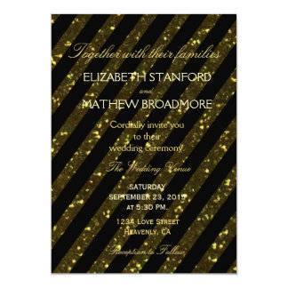 Wedding Invitation | Gold and Black Stripes