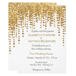 Wedding Invitation | Gold Glitter Confetti