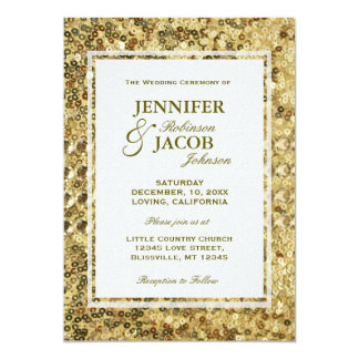Wedding Invitation | Gold Sequins