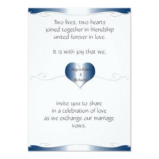 Wedding Invitation-Heart and Swirl Gradient Blue