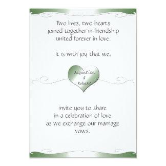 Wedding Invitation -Heart and Swirl Gradient Green