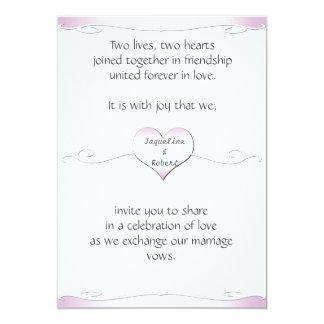 Wedding Invitation-Heart and Swirl Gradient Pink 13 Cm X 18 Cm Invitation Card