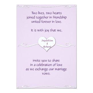 Wedding Invitation - Heart and Swirl Lilac
