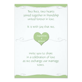 Wedding Invitation - Heart and Swirl Lime Green