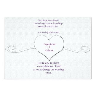 Wedding Invitation - Heart and Swirl white