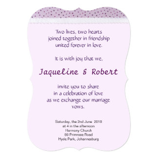 Wedding Invitation - Lilac Polka Dots with lace