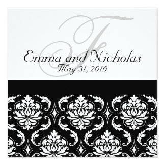 Wedding Invitation Monogram Damask Black & White