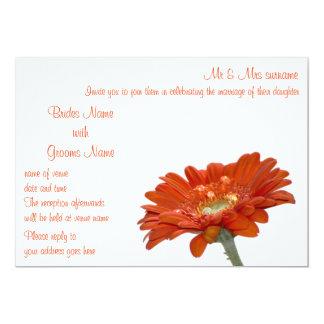 Wedding Invitation - Orange Daisy Gerbera Flower