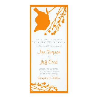 Wedding Invitation orange & white bird and branch
