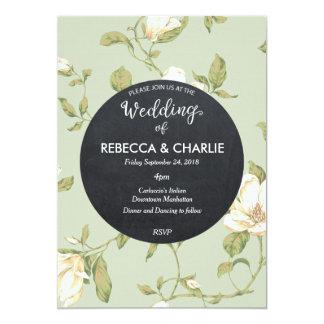 Wedding invitation pale blue floral chalkboard