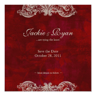 Wedding Invitation Save the Date Antique Roses red