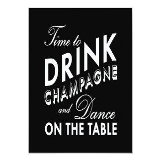 "Wedding Invitation - Time to Drink Champagne 5"" X 7"" Invitation Card"