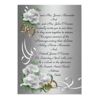 Wedding Invitation white roses given by parents
