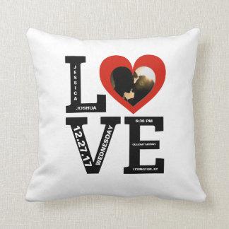 Wedding Keepsake   Photo Names Typography Throw Pillow