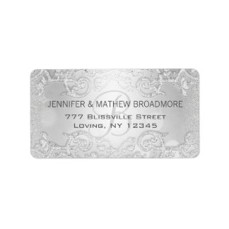 Wedding Label Silver Elegant Monogram Address Label