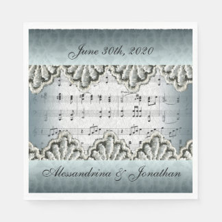 Wedding March with Lace Customizable Text Disposable Serviette