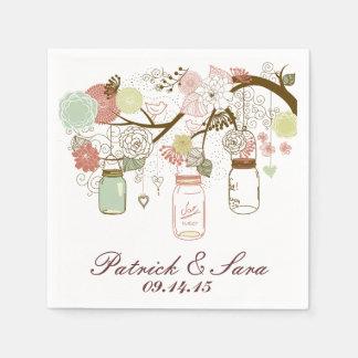 Wedding Mason Jars and Flowers Disposable Serviette
