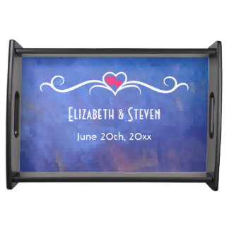Wedding Memento Blue Abstract Squares Design Serving Tray