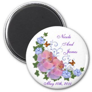 Wedding memento pink blue orchids magnet