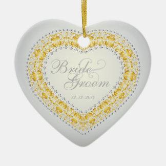 Wedding Memento - Silver & Gold - Heart Ornament