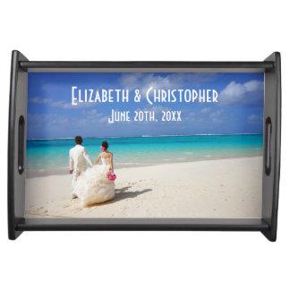 Wedding Memento Wedding Couple on a Tropical Beach Serving Tray