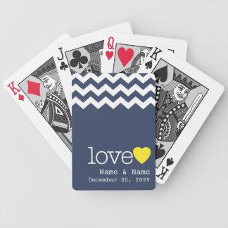 Wedding Memento with modern chevron pattern Poker Deck