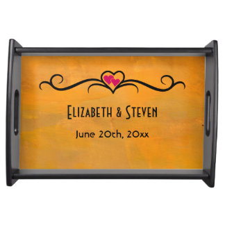 Wedding Memento Yellowish Orange Abstract Texture Serving Tray