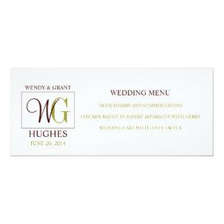 Wedding Menu Card with Custom Monogram Logo