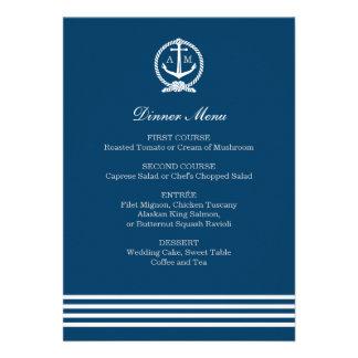 Wedding Menu Cards Nautical Stripes Theme