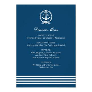 Wedding Menu Cards | Nautical Stripes Theme 13 Cm X 18 Cm Invitation Card
