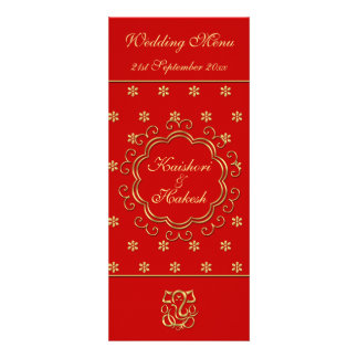 Wedding Menu Template Indian Inspired Red Gold Personalized Announcement