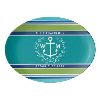 Wedding Monogram Anchor Laurel Wreath Aqua Stripes Porcelain Serving Platter